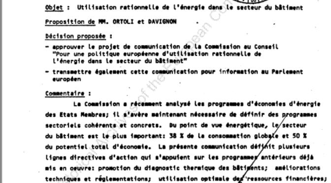 Pour une politique européenne rationnelle de l'énergie dans le secteur du bâtiment, 1984